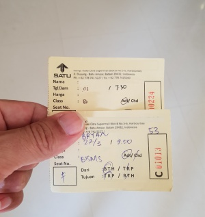 Ferry ticket Batam - Tarempa: US$ 40